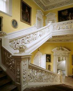 The Great Staircase at Sudbury Hall, Derbyshire-As regards the Grand Staircase, John Fowler analysed the layers of paint on the balustrade, identified two shades of white which he believed to be the original ones, and repainted the previously dark woodwork in those shades. (and a good lesson that not all woodwork was made to be unpainted. rw)