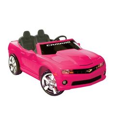 @Overstock - Get this safe two-seater ride-on for your kids to safely enjoy the pleasures of driving a car. This pink Chevrolet Camaro ride-on is powered by a 12 volt battery and can run for up to one hour when fully charged. It can also play radio and MP3 music.http://www.overstock.com/Sports-Toys/Two-seater-12V-Pink-Chevrolet-Camaro-Ride-on/6334711/product.html?CID=214117 $385.99