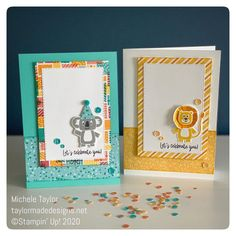 These birthday cards were made by Michele Taylor Card Making Inspiration, Making Ideas, Kids Birthday Cards, Kids Cards, Fun Cards, Stamping Up Cards, Animal Cards, Card Sketches, Scrapbook Cards