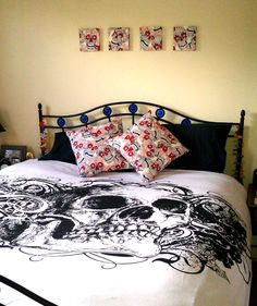 Bedroom decor in Alexander Henry skulls fabric | colour therapy