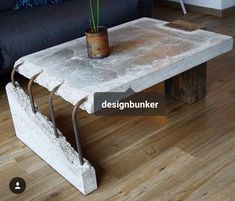 combination of old wood and concrete Concrete Table by Stephan Schmitz. Concrete Furniture, Concrete Wood, Concrete Design, Industrial Furniture, Cool Furniture, Furniture Design, Furniture Plans, System Furniture, Industrial Coffee Tables