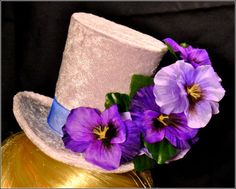 Pretty Lilac Velvet Miniature Top Hat Fascinator with Pansy Flowers and Blue Organza Ribbon Pastel Goth Victorian Costume