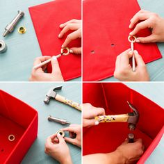 Use grommets to make holes in fabric cubbies for a DIY charging station.
