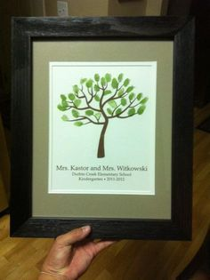 Teacher gift idea.  Great idea for end of the school year gift.  use the kids thumb prints as the leaves.