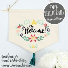 Welcome home banner free sewing pattern.