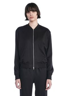 T by ALEXANDER WANG STRETCH SILK TWILL BOMBER BOMBER Adult 12_n_e