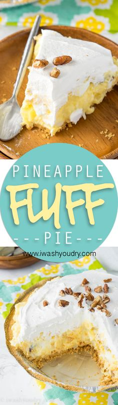 This Pineapple Fluff Pie takes all the goodness of the classic pineapple fluff and puts it into a super easy, no-bake, pie! christmas make,no bake desserts No Bake Desserts, Easy Desserts, Delicious Desserts, Dessert Recipes, Yummy Food, Pie Recipes, Easy Recipes, Snacks Recipes, Muffin Recipes