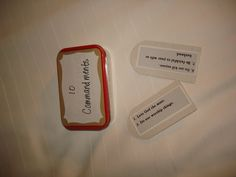 Ten Commandment Craft    Start saving Altoid containers! Decorate the outside of the box and fill it with mini-index cards inscribed with the 10 commandments on them!  Made using Altoid Mint containers!     Very fun!