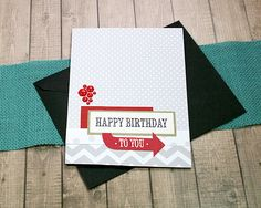 """Red Hexagons Happy Birthday To You Greeting / Note Card - 5"""" by 6.5"""" by PaperDahlsLLC on Etsy"""
