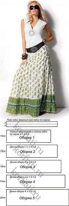 Шикарная длинная юбка с 5-ю оборками  выкройка от   А. Корфиати