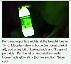 Homade glow bottle using mountain dew, baking soda and peroxide!!