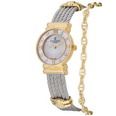 Shop for Charriol Women's 'St Tropez' Mother of Pearl Diamond Dial Two Tone Watch. Get free delivery On EVERYTHING* Overstock - Your Online Watches Store! Philippe Charriol, Stylish Watches, Luxury Watches, Pearl Diamond, Stainless Steel Watch, Rose Gold Plates, Quartz Watch, Jewelry Gifts, Fine Jewelry