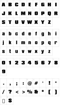 Compacta Black BT font character map - free for personal use