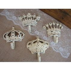 Shabby Chic Crown Wall Hooks for a little girl's room. Too perfect!!!