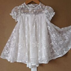 Your place to buy and sell all things handmade Baby christening dress baptism dress for baby girl bow at image 7 Baby Girl Frocks, Frocks For Girls, Baby Girl Dresses, Girl Outfits, Flower Girl Dresses, Vintage Baby Dresses, Baby Girls, Kids Frocks Design, Baby Frocks Designs