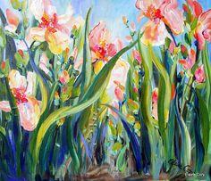 Paisaje de IRIS espátula 20 x 24 Original de pintura arte por Elaine Cory