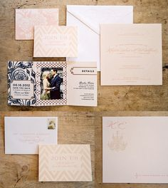 Custom Letterpress and foil wedding invitation suite in blush tones for Dauphine Press real wedding at Beaulieu Garden in Rutherford, California. Invitation features pearl foil on blush colored paper, chevron pattern, chandelier graphic with monogram, lattice pattern and gorgeous florals.