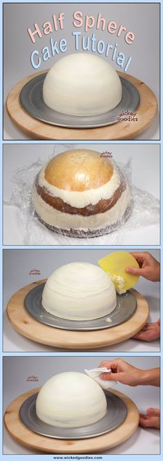 Half Sphere Cake Tutorial by Wicked Goodies(How To Make No Baking Cookies) Cake Decorating Techniques, Cake Decorating Tutorials, Cookie Decorating, Cake Icing, Fondant Cakes, Cupcake Cakes, Fondant Rose, Fondant Baby, 3d Cakes
