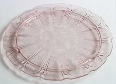 Pink Cherry Blossom Depression Glass footed cake plate