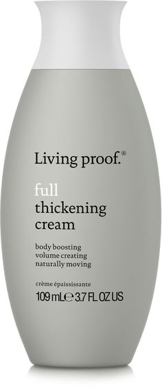 This brand's patented Volumizing Molecule formula, uses thickening dots to create all-day, weightless volume. It is oil-, sulfate-, and silicone-free, and safe for chemically treated hair. Living Proof Full Thickening Cream, $27; ulta.com.