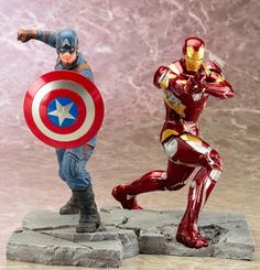 Captain America And Iron Man Statue - Best Processor and Statue Foto Arquestrato. Black Panther Wakanda, Mark 46, Captain America Statue, Marvel Universe, Hulk, Thor, Marvel Statues, Displays, Movie Characters