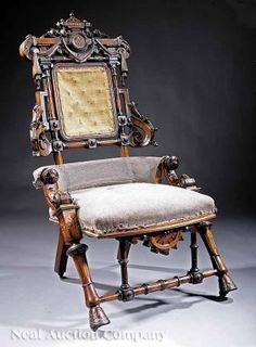 0253: American Innovative Carved Walnut Armchair : Lot 253