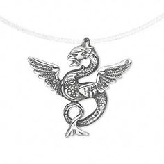 Pendant, antiqued sterling silver, 26x26mm single-sided dragon. Sold individually.