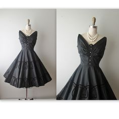 50s Cocktail Dress // Vintage 1950's Black by TheVintageStudio, $140.00
