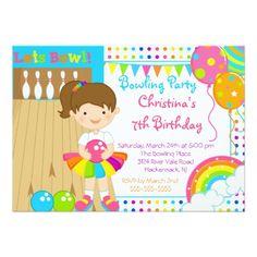 Bowling Birthday Party Invitations Cute Girls Bowling Birthday Party Invitation