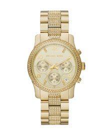 Michael Kors Mid-Size Golden Stainless Steel Runway Chronograph Glitz Watch