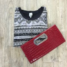 COVER STITCHED Aztec Print Top 3/4 length sleeve and light weight.  Has beautiful zipper detailing on both sides, can be open or closed for the perfect style. Cover Stitched  Tops