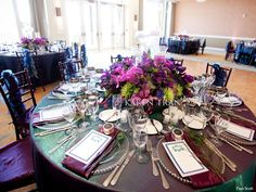 peacock wedding~ purple magenta plum with teal sheen linens - I love the hug mass of flowers in the center and the colored napkins - MP Peacock Theme, Peacock Wedding, Purple Wedding, Wedding Flowers, Wedding Stuff, Dubai Wedding, Wedding Reception, Disney Bride, Persian Wedding