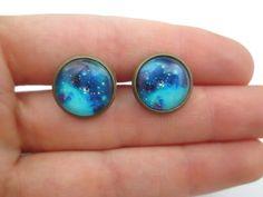 Universe Blue  Earring Studs  Nebula Earrings by StylesBiju, $13.50