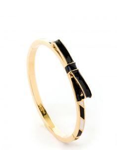 Bow Hinge Bangle Black/Cream $45