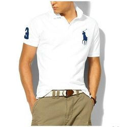 Ralph Lauren Men's Classic Slim-Fit Big Pony Short Sleeve Polo Shirt White  / Navy
