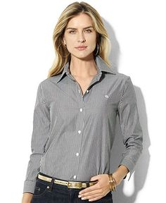 Lauren by Ralph Lauren Shirt, Priya Striped Wrinkle Resistant -.is  feminine and tailored dress shirt.  Wear this over a graphic tee or untucked for a casual feel.