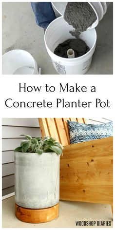 Make an EASY DIY concrete and wood planter pot with this tutorial. A couple buckets, a and a bag of concrete is all you need to make it! Add a fun unique look with the wooden base. Perfect for the front porch! diy wood DIY Concrete and Wood Planter Pot Diy Concrete Planters, Concrete Pots, Concrete Crafts, Concrete Projects, Indoor Planters, Concrete Design, Concrete Furniture, Modern Planters, Concrete Garden