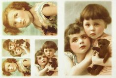 Ricepaper Decoupage paper, Scrapbooking Sheets Old Pictures Girls with Teddy