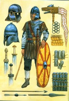 Late Roman infantryman with various equipment used.