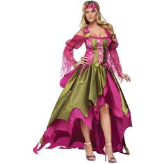 Lovely gown with ribboned corset bodice has sheer lacy sleeves, satin double-layer skirt with train. Comes complete with flowered headband. Bustle Back Skirt! You can wear down or bustle skirt up! Lar