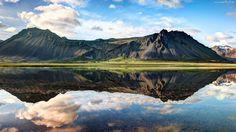 Islandia, Góry, Jezioro, Odbicie