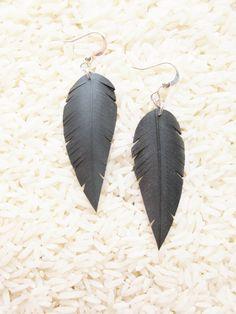 Innertube Feather Earrings  Recycled Jewelry  by RosePedalsJewelry