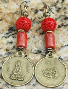 Chinese Red Coral, Cinnabar and Brass Dragon Coin Dangle Earrings