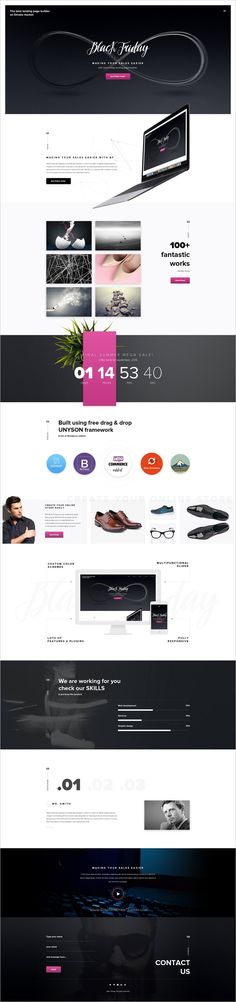 Black Friday is a modern #PSD template for #webdev commercial #landing page website with 2 homepage layouts download now➩ https://themeforest.net/item/black-friday/18776915?ref=Datasata