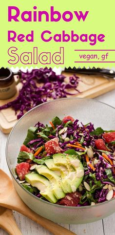 Please fill your bowl with this healthy, appealing, and delectable rainbow red cabbage salad.