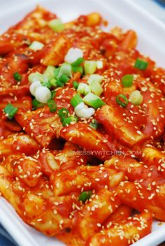TteokBokKi.  Very interesting rice cake noodle texture that is sweet and spicy.