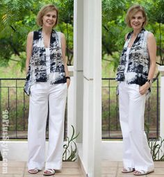 Printed black and white top worn in a different way. Check out the other options on the blog!