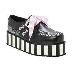 T.U.K. Hello Kitty Stripe Black White Wrap Creepers Hot Topic ($83) ❤ liked on Polyvore featuring shoes, creeper, platform, fleece-lined shoes, black and white stripe shoes, white and black shoes, black and white shoes and creeper platform shoes