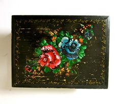 Distressed Vintage Wood Box - Painted Black with Flowers - Jewelry Box - Floral…