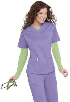 Med Couture EZ Flex crossover sport v-neck scrub top in Peri | Scrubs and Beyond